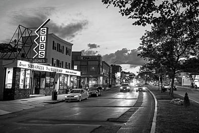 Photograph - Broadway In Somerville Ma At Sunset Black And White by Toby McGuire