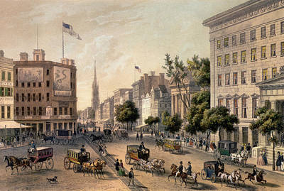 Horse And Carriage Painting - Broadway In The Nineteenth Century by Augustus Kollner