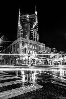 Nashville Photograph - Broadway Lights - Nashville Tennessee Skyline Black And White by Gregory Ballos
