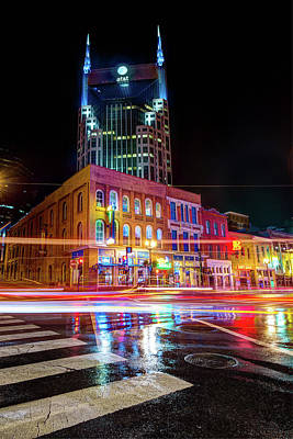 Photograph - Broadway Lights - Nashville Tennessee Skyline by Gregory Ballos