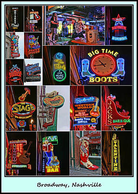 Photograph - Broadway, Nashville - Collage # 2 by Allen Beatty