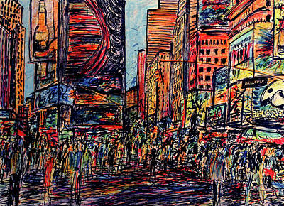 New York City Skyline Drawing - Broadway, New York  by K McCoy
