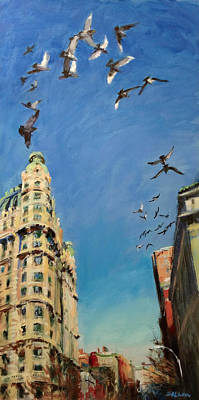 Painting - Broadway Pigeons No. 1 by Peter Salwen