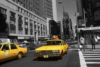 Photograph - New York Broadway - Yellow Taxi Cabs by Art America Gallery Peter Potter