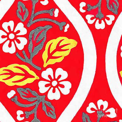 Cherry Blossoms Photograph - Brocade Pattern With Cherry Blossoms And Wave Designs On Red  by Edward Fielding