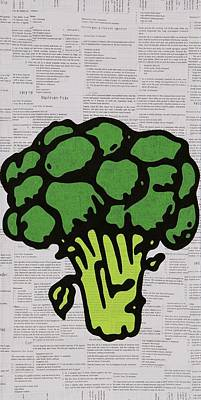 Cookbook Mixed Media - Broccoli by Jen Gabriele