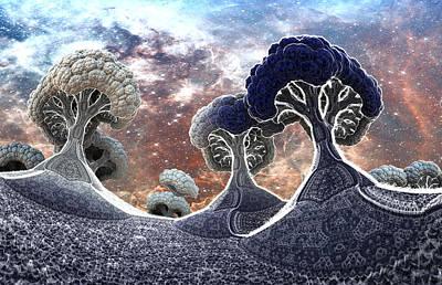 Trippy Digital Art - Broccoli Planet In Winter by Dr-Pen