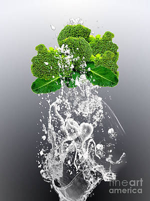 Broccoli Splash Art Print