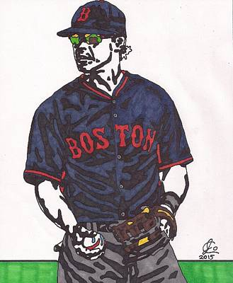 Mlb Boston Red Sox Drawing - Brock Holt 1 by Jeremiah Colley