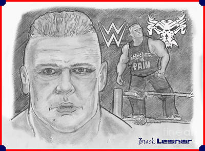 Drawing - Brock Lesnar by Chris  DelVecchio