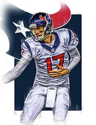 Football Mixed Media - Brock Osweiler Houston Texans Oil Art by Joe Hamilton