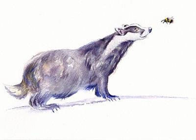 Painting - Brock The Badger by Debra Hall