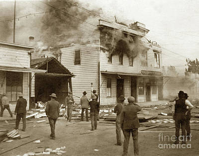 Photograph - Brockman House Goes Up In Flames. Gonzales On September 23, 1914 by California Views Mr Pat Hathaway Archives