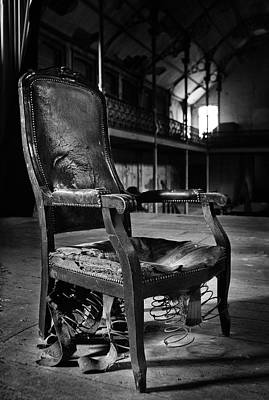 brokan chair at deserted theatre - BW abandoned places urban exp Art Print by Dirk Ercken