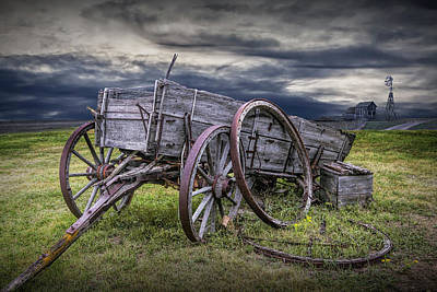 Photograph - Broke Down, A Wooden Farm Wagon On The Prairie by Randall Nyhof