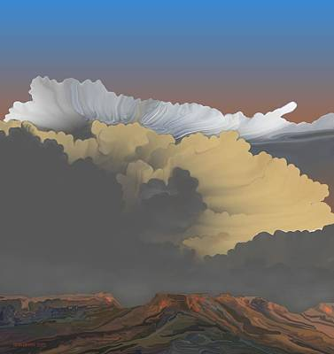 Print featuring the digital art Brokeback Hills by Kerry Beverly