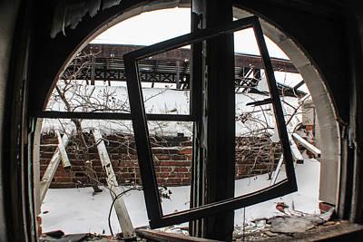 Detroit Abandoned Buildings Photograph - Broken Detroit Window  by John McGraw