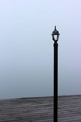 Photograph - Broken Dock Light In Fog by Mary Bedy