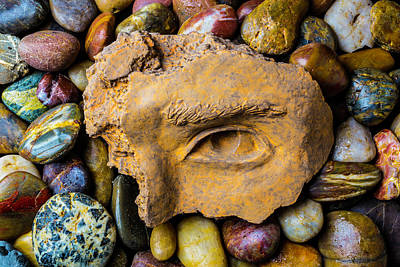 Rocky Statue Photograph - Broken Eye Statue Fragment by Garry Gay