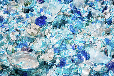 Photograph - Broken Glass Blue by Melissa Lane