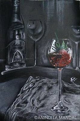 Champagne Glasses Drawing - Broken Heart by Anindita  Mandal