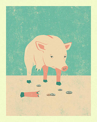 Pig Wall Art - Digital Art - Broken by Jazzberry Blue