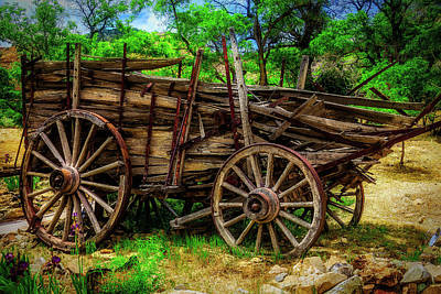 Wagon Photograph - Broken Weathered Wagon by Garry Gay