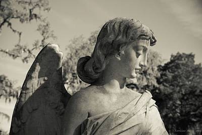 Photograph - Broken Wing Cemetery Angel Black And White by Melissa Bittinger