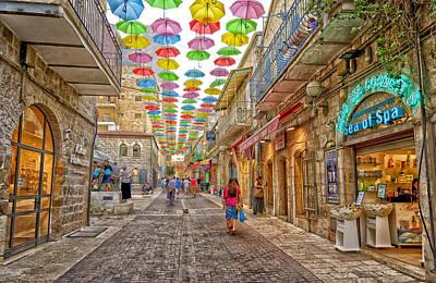 Brollies Over Jerusalem Art Print