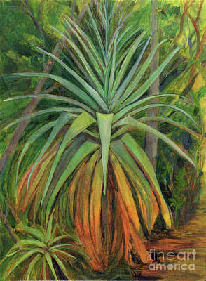Painting - Bromeliad And Pup by Amelia at Ameliaworks