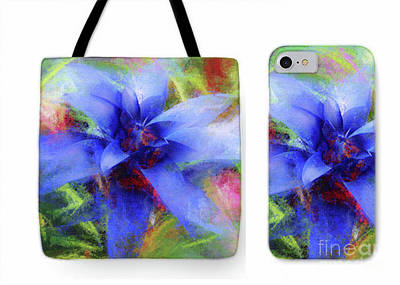 Bromeliad Lavender Blue Tote Phone Case Set Art Print by Mona Stut