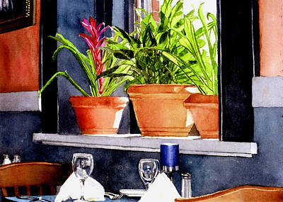 Maureen Painting - Bromeliads At Bernini's by Maureen Piccirillo