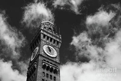 Photograph - Bromo-seltzer Clock Tower Greyscale Baltimore by James Brunker