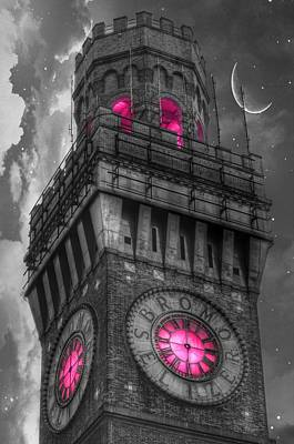 Photograph - Bromo Seltzer Tower Baltimore - Pink Clock by Marianna Mills