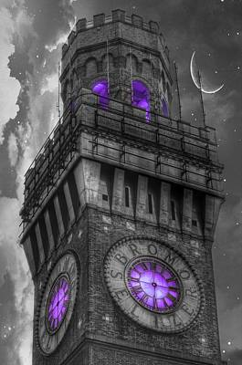 Photograph - Bromo Seltzer Tower Baltimore - Purple Clock by Marianna Mills