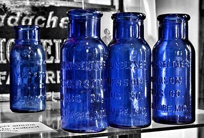 Photograph - Bromo Seltzer Vintage Glass Bottles Collection - Backwards Z by Marianna Mills