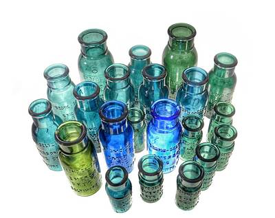 Photograph - Bromo Seltzer Vintage Glass Bottles Collection - Rare  Green by Marianna Mills