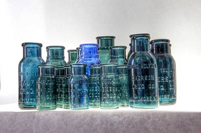 Photograph - Bromo Seltzer Vintage Glass Bottles Collection - Rare Greens by Marianna Mills