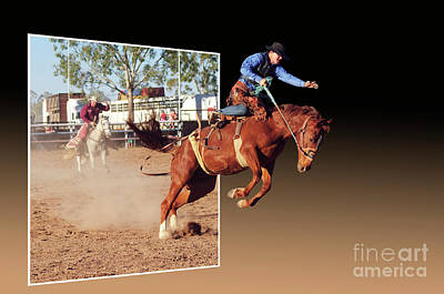 Of Rodeo Events Photograph - Bronco Escape by Genevieve Vallee