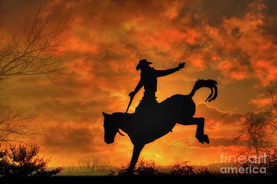 Bronco Riding Sunset Art Print
