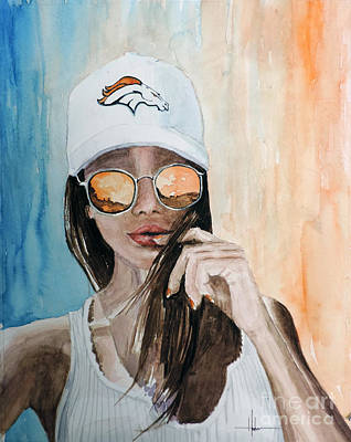 Women Football Painting - Broncos Lover by Richard Hahn