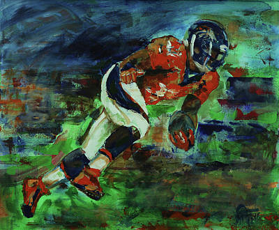 Painting - Broncos - Orange And Blue Horse Power by Walter Fahmy