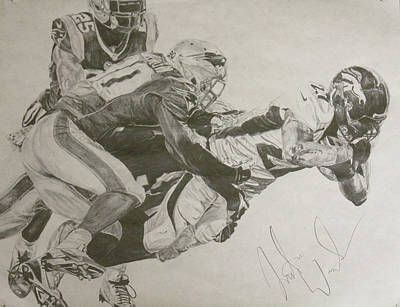Denver Broncos Drawing - Broncos Vs. Patriots by Justin Wade