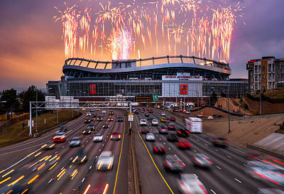 Firework Photograph - Broncos Win Afc Championship Game 2016 by Darren White