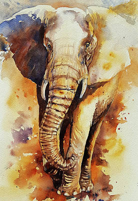 Painting - Bronze Bill Elephant by Arti Chauhan