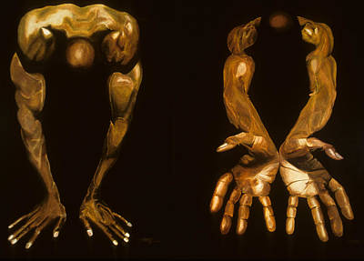 Painting - Bronze Body Builder by JoeRay Kelley