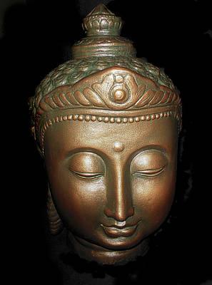 Photograph - Bronze Buddha Head by Joan Reese