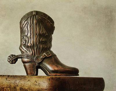 Photograph - Bronze Cowboy Boot by David and Carol Kelly