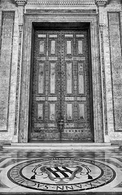 Photograph - Bronze Door Basilica San Giovanni In Laterano Rome Italy Black And White by Shawn O'Brien