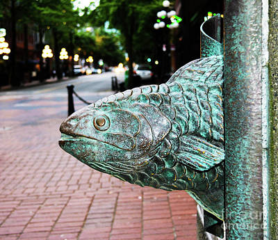 Photograph - Bronze Fish-head Of Gastown, Vancouver, Bc, Canada by Zaira Dzhaubaeva
